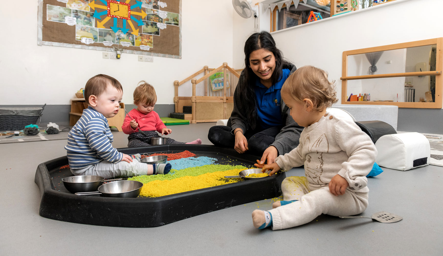 Our free-movement room allows children to develop their motor skills, physical development and coordination.