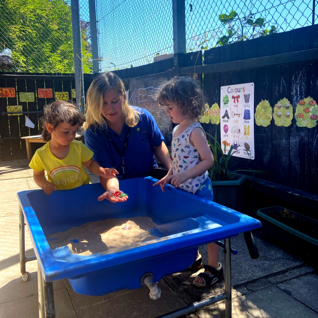 Our sandpit is always very popular with the children